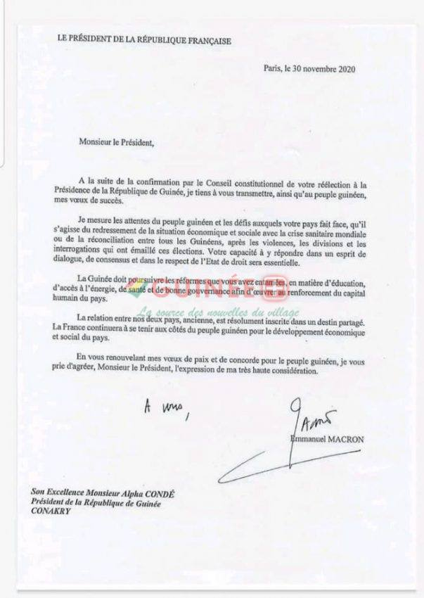 La lettre d'Emmanuel Macron adressée à Alpha Condé après sa réélection à la tête de la République de Guinée.